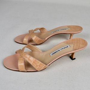 (MANOLO BLAHNIK) Callamu Snakeskin Kitten Sandals
